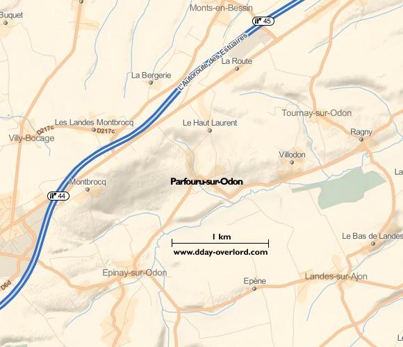 Image : carte du secteur de Parfouru-sur-Odon - Bataille de Normandie en 1944