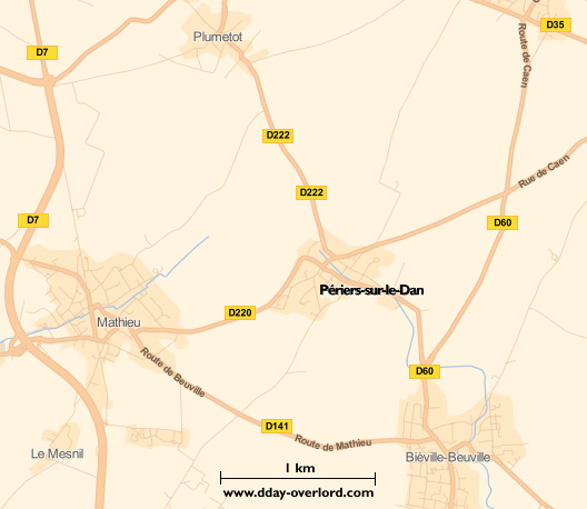 Image : carte du secteur de Périers-sur-le-Dan - Bataille de Normandie en 1944