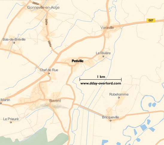 Image : carte du secteur de Petiville - Bataille de Normandie en 1944