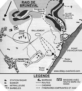 Image : Plan du raid de Bruneval
