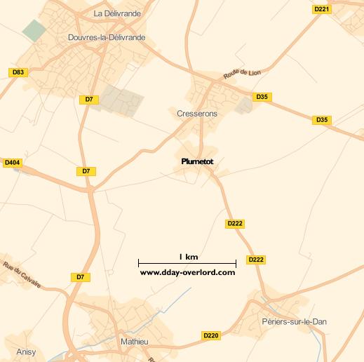 Image : carte du secteur de Plumetot - Bataille de Normandie en 1944