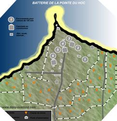 Image : plan de la batterie de la Pointe du Hoc