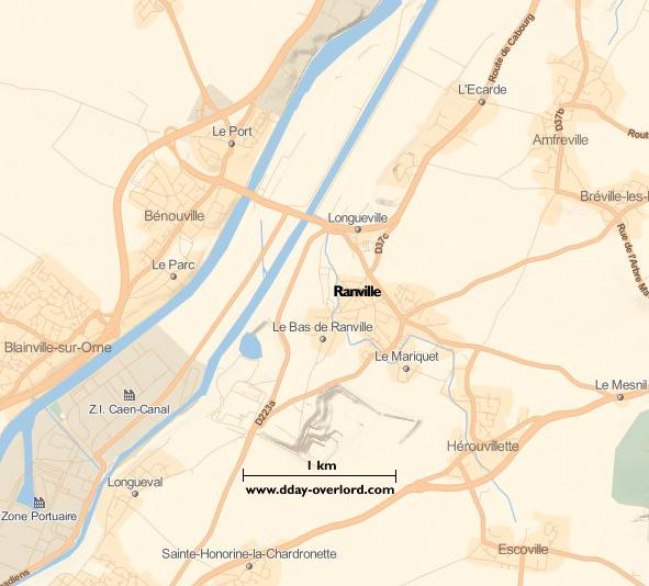 Image : carte du secteur de Ranville - Bataille de Normandie en 1944