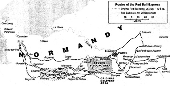 Image : Les routes de la Red Ball Express, du 25 août au 20 septembre 1944