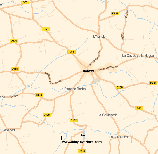 Image : carte du secteur de Roncey - Bataille de Normandie en 1944