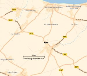 Carte de Ryes (Calvados)