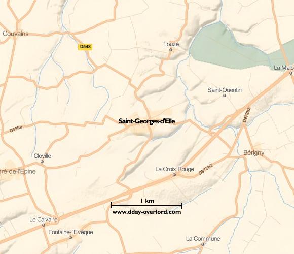 Image : carte du secteur de Saint-Georges-d'Elle - Bataille de Normandie en 1944