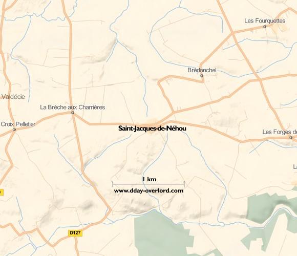 Image : carte du secteur de Saint-Jacques-de-Néhou - Bataille de Normandie en 1944
