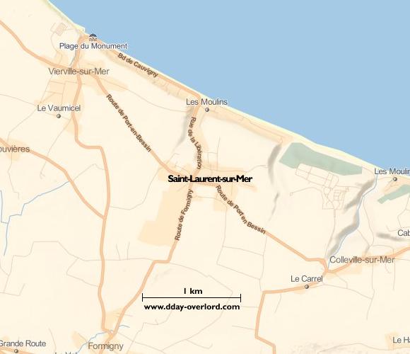 Image : carte du secteur de Saint-Laurent-sur-Mer - Bataille de Normandie en 1944