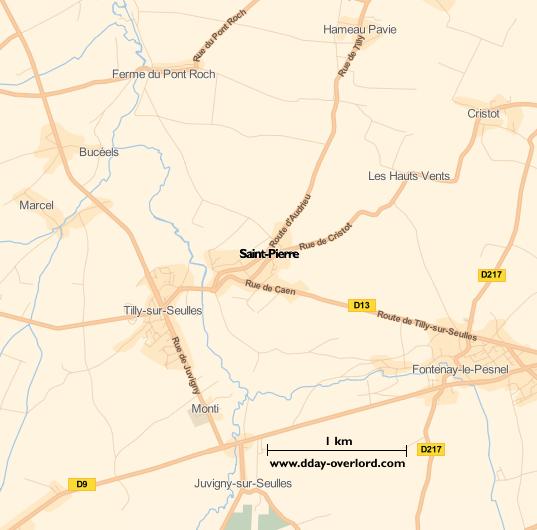 Image : carte du secteur de Saint-Pierre - Bataille de Normandie en 1944