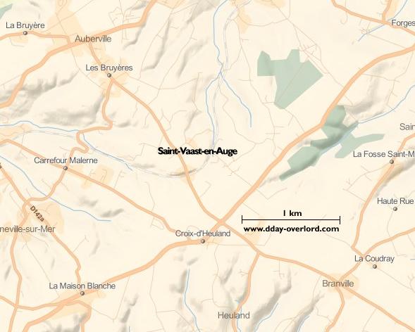 Image : carte du secteur de Saint-Vaast-en-Auge - Bataille de Normandie en 1944