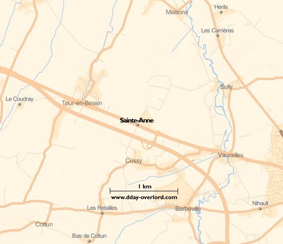 Image : carte du secteur de Sainte-Anne - Bataille de Normandie en 1944