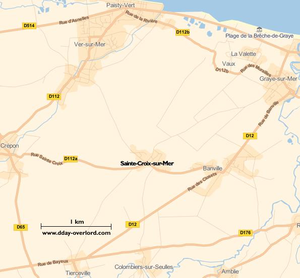 Image : carte du secteur de Sainte-Croix-sur-Mer - Bataille de Normandie en 1944