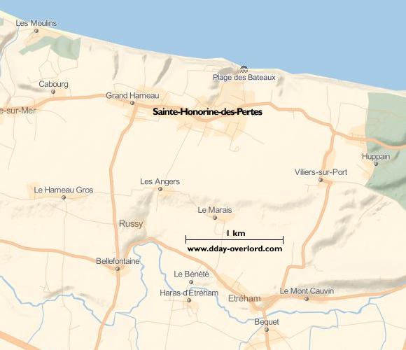 Image : carte du secteur de Sainte-Honorine-des-Pertes - Bataille de Normandie en 1944
