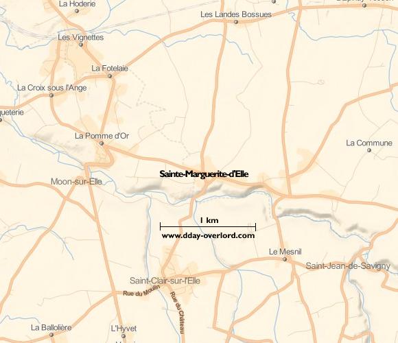 Image : carte du secteur de Sainte-Marguerite-d'Elle - Bataille de Normandie en 1944