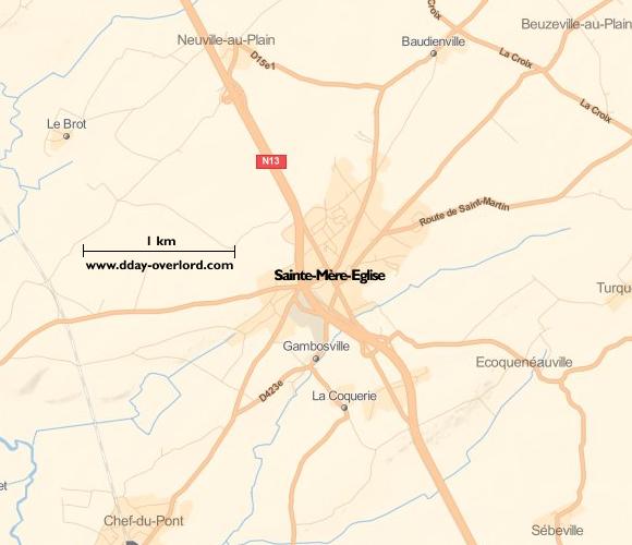 Image : carte de Sainte-Mère-Eglise