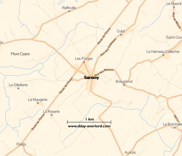 Image : carte du secteur de Sainteny - Bataille de Normandie en 1944
