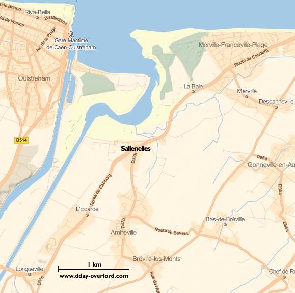 Image : carte du secteur de Sallenelles - Bataille de Normandie en 1944