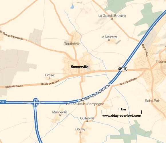 Image : carte de la commune de Sannerville