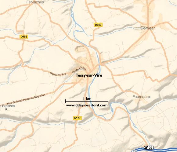 Image : carte du secteur de Tessy-sur-Vire - Bataille de Normandie en 1944