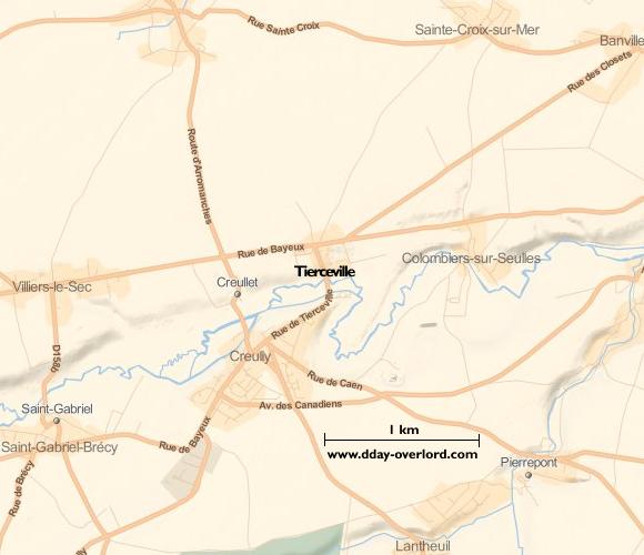 Carte de Tierceville (Calvados)