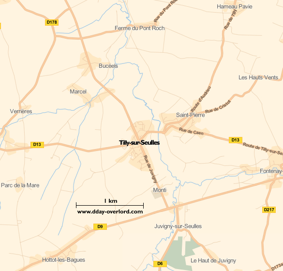 Image : carte du secteur de Tilly-sur-Seulles - Bataille de Normandie en 1944