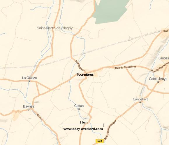 Image : carte du secteur de Tournières - Bataille de Normandie en 1944