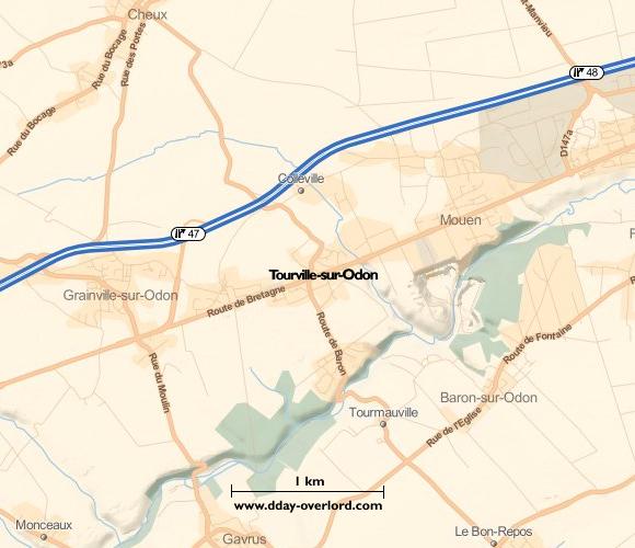 Image : Carte de Tourville-sur-Odon dans le Calvados