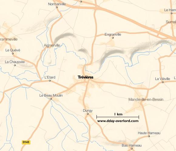 Image : carte du secteur de Trévières - Bataille de Normandie en 1944