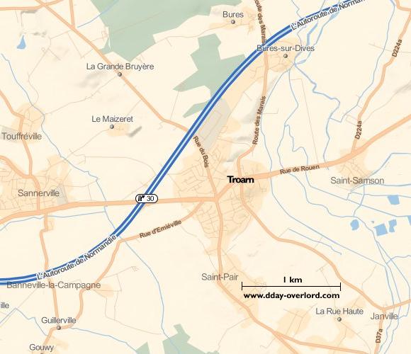 Image : carte de la commune de Troarn