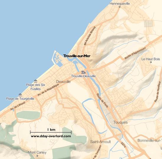 Image : carte du secteur de Trouville-sur-Mer - Bataille de Normandie en 1944