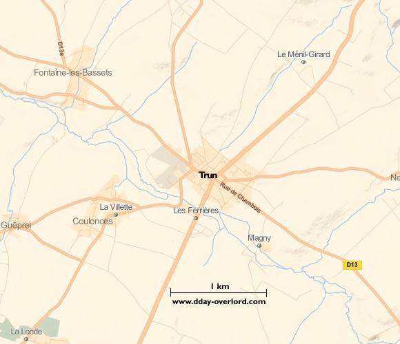 Image : Carte de Trun dans l'Orne