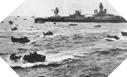 Image : Les LCVP font route vers les plages de débarquement devant l'USS Augusta le 6 juin 1944