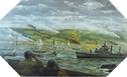 Image : Peinture de Dwight C. Shepler représentant l'USS Emmons le 6 juin 1944 devant le Wn 60 et le secteur Fox Green