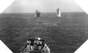 Image : L'USS Quincy engagé par les batteries de Cherbourg le 25 juin 1944