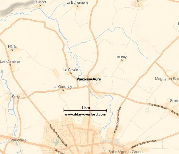 Image : carte du secteur de Vaux-sur-Aure - Bataille de Normandie en 1944
