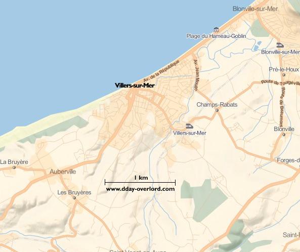 Image : carte du secteur de Villers-sur-Mer- Bataille de Normandie en 1944