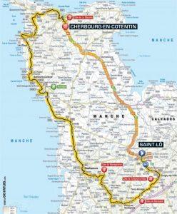 Parcours de l'étape N°2 du Tour de France 2016 entre Saint-Lô et Cherbourg-en-Cotentin le 3 juillet