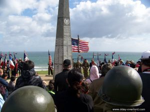 Cérémonie commémorant le débarquement à Omaha Beach le 6 juin 1944 à l'occasion du 73ème anniversaire du débarquement de Normandie - 6 juin 2017