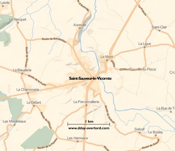 Image : carte du secteur de Saint-Sauveur-Lendelin - Bataille de Normandie en 1944