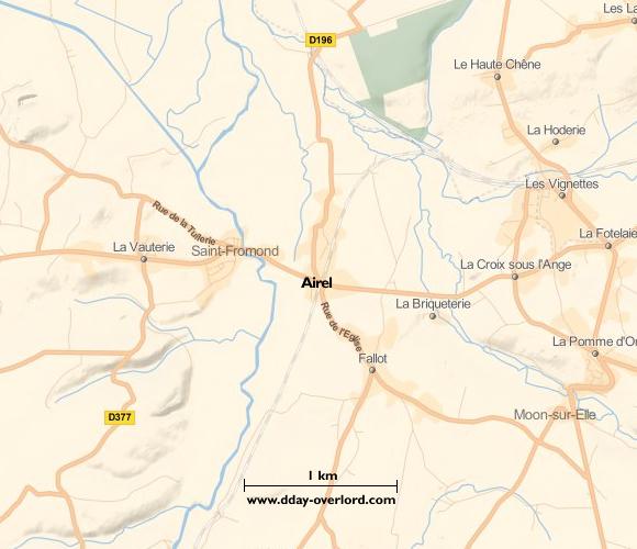 Image : carte du secteur de Airel - Bataille de Normandie en 1944