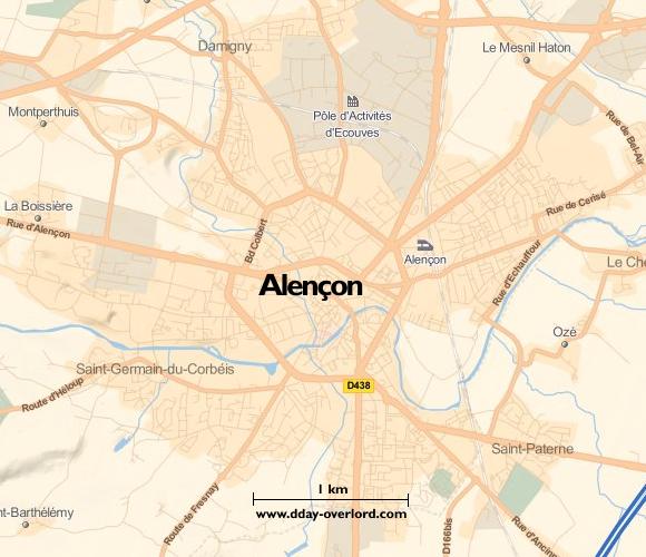 Image : Carte de Alençon dans l'Orne