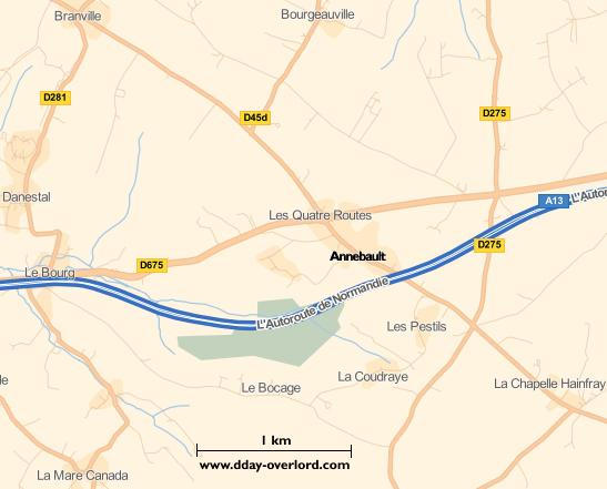Image : carte du secteur de Annebault - Bataille de Normandie en 1944