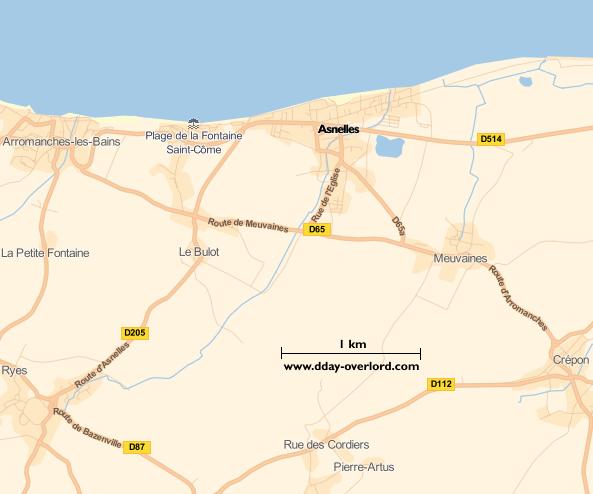 Image : carte du secteur de Asnelles - Bataille de Normandie en 1944