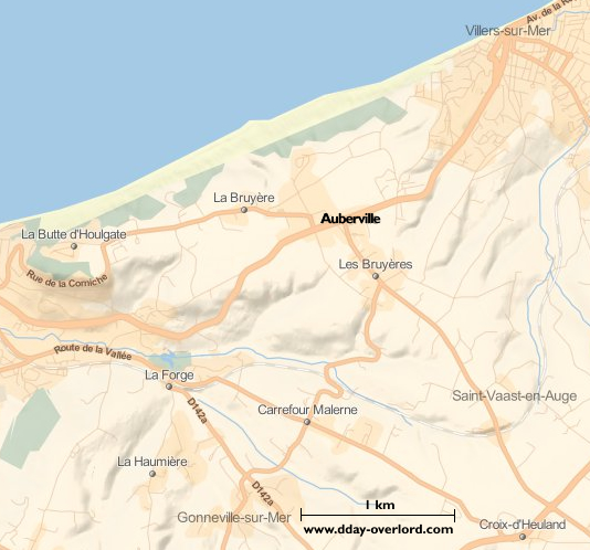 Image : carte du secteur de Auberville - Bataille de Normandie en 1944