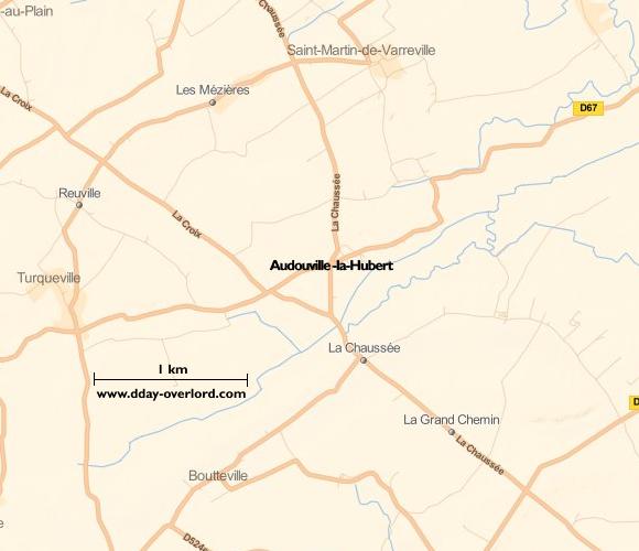 Image : carte de la commune de Audouville-la-Hubert