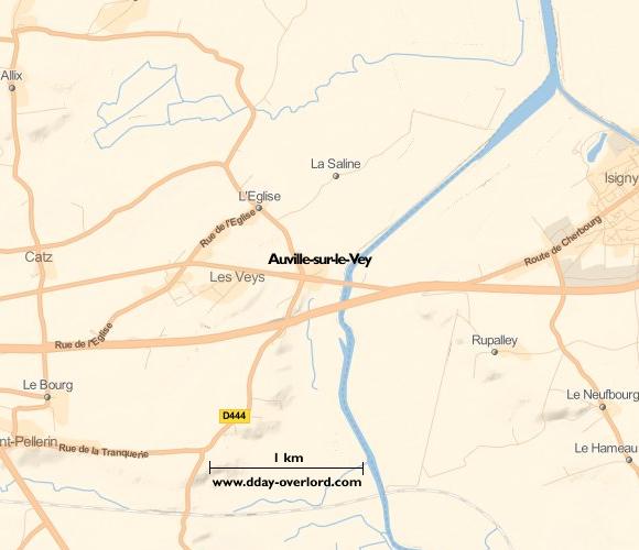 Image : carte de la commune de Auville-sur-le-Vey