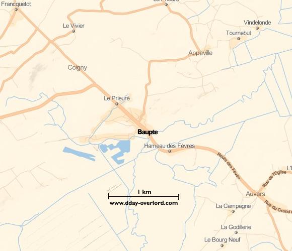 Image : carte du secteur de Baupte - Bataille de Normandie en 1944