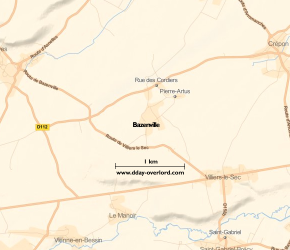 Image : carte du secteur de Bazenville - Bataille de Normandie en 1944