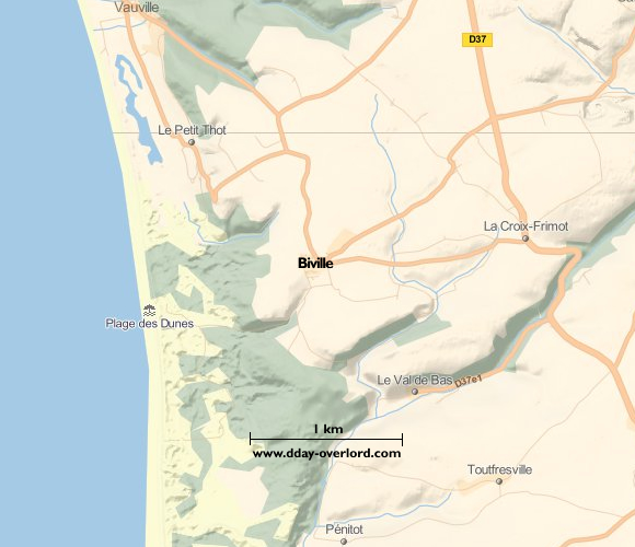 Image : carte du secteur de Biville - Bataille de Normandie en 1944